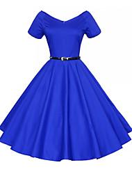 Damen Hülle Kleid-Ausgehen Retro Solide / Blumen V-Ausschnitt Knielang Kurzarm Blau / Rot / Schwarz Baumwolle Sommer Mittlere Hüfthöhe