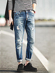 Men's Jeans Pants,Casual/Daily Simple Solid Zipper Cotton Micro-elastic All Seasons