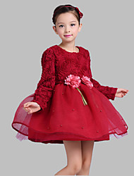A-line Short / Mini Flower Girl Dress - Satin / Tulle Long Sleeve Jewel with Embroidery / Flower(s)
