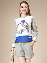 DOF Women's Casual/Daily Simple Fall Set PantPrint Round Neck Long Sleeve Gray Cotton Medium