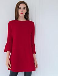 Courte / Tricot Robe Femme Sortie simple,Couleur Pleine Col Arrondi Au dessus du genou Manches ¾ Rouge Laine / Autres Printemps / Automne