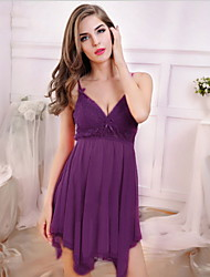 Women Babydoll & Slips Nightwear,Sexy Solid-Thin Spandex Lace Pink Purple Red Black