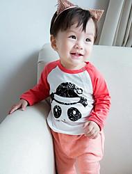 малыш Блуза-На каждый день,Однотонный,Хлопок,Весна-Черный / Красный
