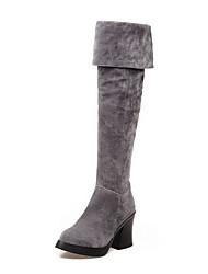 Women's High Heels High Top Solid Zipper Boots