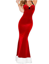 Women's Halter Backless Vintage Christmas Long Party Red Dress