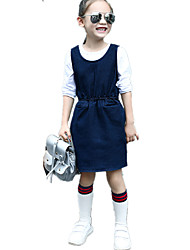 Girl's Wild Solid Strap Denim Skirt Jeans Dress