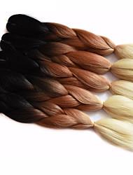 """Jumbo Box Trenzas Ombre Trenzar el cabello Kanekalon Borgoña Blanco Azul Verde Amarillo Extensiones de cabello 24 """" Las trenzas de pelo"""