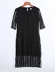 Gaine Robe Aux femmes Sortie Chic de Rue,Couleur Pleine Col Arrondi Mi-long ½ Manches Noir Coton / Spandex Eté