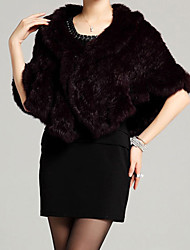 Women's Casual/Daily / Party/Cocktail Vintage / Simple Cloak/Capes,Solid Round Neck Sleeveless Fall / Winter Red / BlackRabbit Fur / Faux