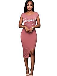 Women's Holiday Simple Sheath DressLetter Zipper Round Neck Asymmetrical Sleevelessl Mid Rise Micro-elastic