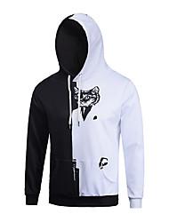Men's Print Casual / Sport Pocket Black White Cat  Print Long Sleeve Men 3d Hoodie