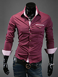 Men's Casual/Daily / Formal / Work Simple All Seasons Shirt,Solid / Color Block Shirt Collar Long Sleeve Blue / Red / White / BlackCotton