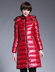 Feminino Padrão Casaco Acolchoado,Simples Sólido Formal-Algodão Algodão Manga Longa Colarinho Chinês Vermelho / Preto
