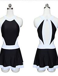 Sportif Femme Maillots de Bain Respirable / Compression / Confortable One Piece Bandeau Jupette Blanc / Noir Noir M / L / XXL