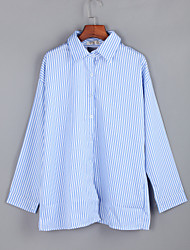 Women's  Fall BlouseSolid / Striped Shirt Collar Long Sleeve Blue / Red Polyester Medium