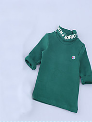 Girl's Casual/Daily Solid TeeCotton Spring / Fall Black / Green / Yellow