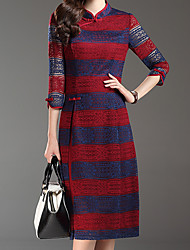 Women's Lace Plus Size Chinoiserie Sheath DressStriped Stand Knee-length Sleeve Red/ Winter Mid