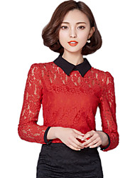 Spring Fall Women Clothing Tops Solid Color Plus Size Lace Tops Casual Fashion Women Tops