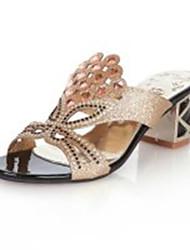 Women's Sandals Summer Slingback PU / Casual Chunky Heel Sparkling Glitter Black / Blue / Royal Blue Walking