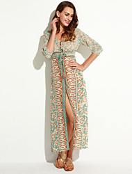 Women's Boho Holiday A Line Dress,Floral V Neck Maxi Long Sleeve Multi-color Fall