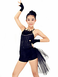 Dresses Performance Spandex / Sequined Paillettes / Lace / Sequins / Side-Draped 4 Pieces Jazz Sleeveless HighDress /