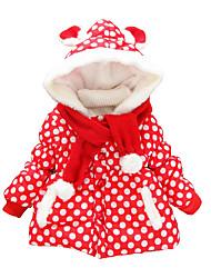 Girl's Cotton Winter Fashion Casual/Daily Cartoon Dot Print Fur Trim Thicken Keep Warm Hoodie Cotton-Padded Coat