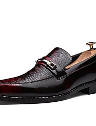 Черный Коричневый Красный-Мужской-Повседневный-Полиуретан-На плоской подошве-Удобная обувь-Мокасины и Свитер