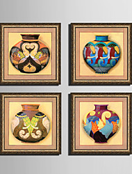 E-HOME® Framed Canvas Art, The Color of The Brew Tank Framed Canvas Print Set of 4