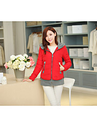 Women's Regular Down Coat,Simple Casual/Daily Color Block-Polyester White Duck Down Long Sleeve Pink / Red / Black / Brown / Green