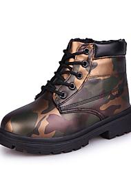 Girl's Boots Fall Winter Comfort PU Dress Casual Flat Heel Zipper Green Purple Red Walking