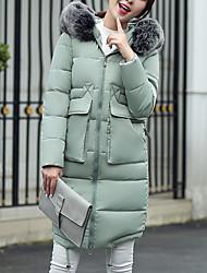 Women's Long Padded CoatSimple / Street chic Fashion Thick Warm Slim Fur Trim Casual Solid Sleeveless Hooded