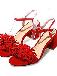 Women's Sandals Summer Comfort Suede Casual Chunky Heel Buckle / Tassel / Flower Black / Red / Almond Others