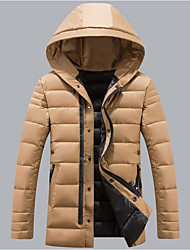 Men's Regular Padded Coat,Simple Casual/Daily Solid-Polyester Cotton Long Sleeve Hooded Beige