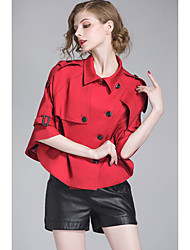 Women's Casual/Daily Sexy CoatSolid Shirt Collar Long Sleeve Spring / Fall Red / Brown Cotton Medium