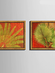 E-HOME® Framed Canvas Art, Large Green Leaves Framed Canvas Print Set Of 2