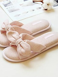 Women's Slippers & Flip-Flops Fall Winter Cotton Casual Flat Heel Bowknot Gray Blushing Pink