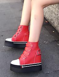 Черный Красный-Женский-Повседневный-Микроволокно-На платформе-На платформе-Ботинки