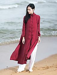 Feminino Camisa Casual Vintage Outono,Sólido Vermelho Linho Colarinho Chinês Manga ¾ Média