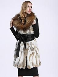 Feminino Casaco de Pelo Casual Sofisticado Inverno,Sólido Branco Pêlo de Coelho / Pêlo de Guaxinim Colarinho de Camisa-Sem Manga