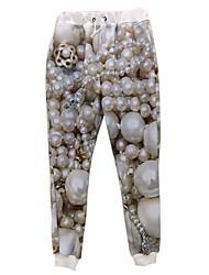 Women's Print White Sweatpants Pants,Simple / Boho / Active Fall / Winter