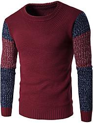 Men's Casual/Daily Simple Regular Pullover,Color Block Blue Red Orange Round Neck Long Sleeve Wool Fall Winter Medium Micro-elastic