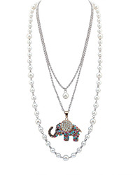 Women European Style Fashion Cute Pearl Colorful Rhinestone Elephant Necklace