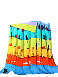 Bedtoppings Blanket Flannel Coral Fleece Queen Size 200x230cm Cat Stripe Prints 210GSM
