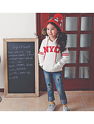 Girl's Casual/Daily Solid Hoodie & SweatshirtCotton Fall Blue / White