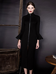 Dame Vintage I-byen-tøj Skede Kjole Ensfarvet,Rullekrave Knælang 3/4 ærmelængde Sort Nylon Forår / Efterår Alm. taljede Mikroelastisk Tyk