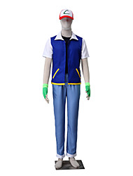 Inspired by Pocket Little Monster Ash Ketchum Monster Trainer Costume Anime Cosplay Suits Solid Coat Vest Pants Hat Gloves For Male Female Kid