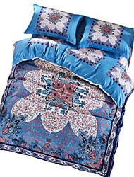 BeddingOutlet Luxury Bedding Set Blue Retro Design Quilt Cover No Fading Quality Bed Sheet Queen Size 4pcs Bedspread