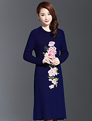 AINIER Women's Casual/Daily Chinoiserie Tunic DressEmbroidered Stand Knee-length Long Sleeve Blue Polyester Fall Mid Rise Inelastic Thin