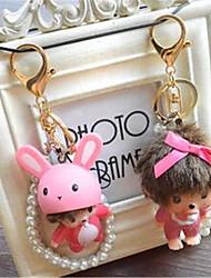 Kiki Panda Car Pendant Vinyl Doll Keychain DIY Cartoon Pearl Diamond Car Accessories