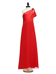 LAN TING BRIDE Floor-length Chiffon Junior Bridesmaid Dress Sheath / Column One Shoulder Natural with Bow(s)